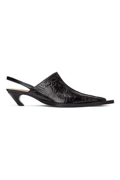 Charlotte Knowles: SSENSE Exclusive Black Embossed Leather Heeled Mule | SSENSE Leather Heels, Heeled Mules, Kitten Heels, Charlotte, Shoes, Black, Fashion, Moda, Zapatos