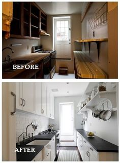 Before And After Galley Kitchen Update. Make A Space Look Sophisticated And  A Million Times Bigger By Painting The Cupboards White.