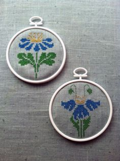 Instant Download: Art Deco Flowers Mini Cross Stitch Set (Machine Embroidery)