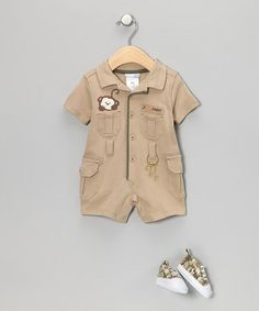Khaki Zookeeper Romper & booties $17.99...I love the keys decal