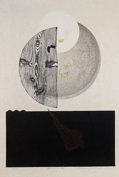 Reika Iwami. Japanese, born 1927. Eclipse of the Moon over the Sea, 1982. Woodblock and collagraph printed in black, red, and metallic ink with embossing on medium thick, slightly textured cream-colored paper.