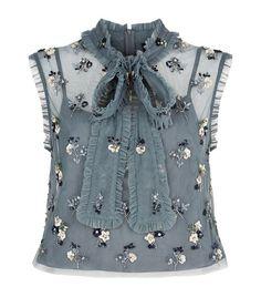 Girls: Tops Needle & Thread Ditsy Bow Tie Neck Crop High, Source by HariboMiri Crop Top Dress, Sequin Crop Top, Sequin Shirt, Crop Blouse, Ruffle Shirt, Frill Blouse, Blue Blouse, Ruffle Top, Bow Crop Tops