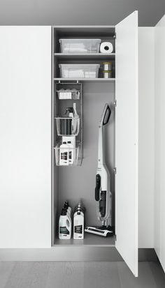 How to organise your kitchen space, Products - Arclinea Utility Room Storage, Utility Closet, Laundry Room Organization, Laundry Room Layouts, Small Laundry Rooms, Laundry Cupboard, Kitchen Organisation, Cleaning Closet, Laundry Room Design