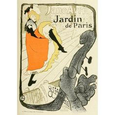 Jane Avril Jardin de Paris Canvas Art - H de Toulouse-Lautrec (24 x 36)