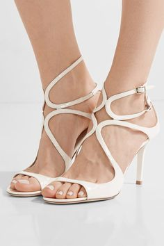 Jimmy Choo - Ivette Cutout Patent-leather Sandals - White - IT39.5
