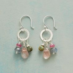 "PINK PRELUDE EARRINGS -- The blush of cherry quartz is backed by the moody hues of labradorite and chrysocolla and the pop of pink sapphire in these earrings of varied gemstones. Sterling silver disk and wires. USA. Exclusive. 1-1/4""L."