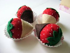 Play food  Felt strawberries in chocolate set of 4  by DusiCrafts, $14.00