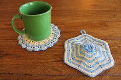 HANDMADE 50's Inspired Crocheted Pot Holders by RitaMaesShop