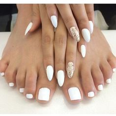 wedding toe nail design idea 2016 via Polyvore featuring beauty products and nail care