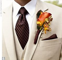Wedding Suits Beige Tux, Chocolate tie, and orange flower. Would be gorgeous for a fall wedding - Tuxedo Wedding, Wedding Groom, Wedding Men, Wedding Suits, Wedding Attire, Trendy Wedding, Fall Wedding, Wedding Tuxedos, Wedding Stuff
