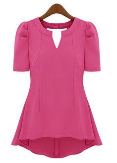 Chic Puff Sleeve Cutout Shirred Waist Rose Tees