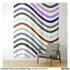 Shop Colorful Wavy Lines Pattern Tapestry created by AponxDesigns. Tapestry Bedroom, Wall Tapestry, Line Patterns, New Room, Cool Gifts, Tapestries, Colorful, Abstract, Diy Funny