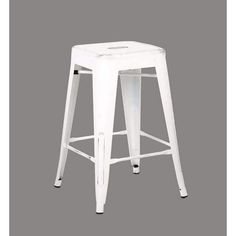 """Ac Pacific Set of 2 Backless Distressed Metal Barstool, White 24""""H"""