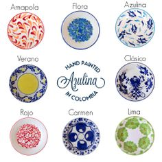 The Eight Collections of Azulina Ceramics. Hand-painted in Colombia.