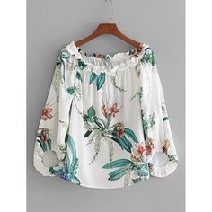 White Print Floral Shirt Blouse Off Shoulder With Sleeve Slash Neck Spring Summer Girls Beach Wear Tops Blusa Floral Print Shirt, Printed Blouse, Blouse Styles, Blouse Designs, Casual Dresses, Fashion Dresses, Girl Fashion, Womens Fashion, Fashion Casual