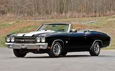 The Dream: The 1970 Chevrolet Chevelle SS 454 Convertible, in stunning Tuxedo Black with white rally striping Chevrolet Chevelle, 1970 Chevelle Ss, Super Sport, Convertible, Chevy Muscle Cars, Us Cars, Vintage Cars, Dream Cars, Classic Cars