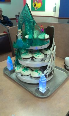 Frozen cupcake tower- Front homemade candy