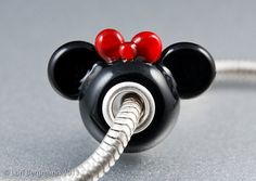 I created this adorable Girl Mouse European Charm Bead (aka Big Hole Bead) out of glossy black glass, accented with a sweet red bow. The bead is Pandora Beads, Pandora Bracelet Charms, Pandora Jewelry, Charm Jewelry, Charm Bead, Jewlery, Minnie Mouse Pandora Charm, Disney Charms, Disney Pandora