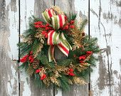 Winter Wreath Red Amaryllis Mixed Pine Red by sweetsomethingdesign