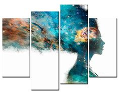 Modern Home Decoration – Figure Paintings – Green Girl Artistic Expression Colorful Brain And Bright Universe Picture – Print on Canvas for Living Room 4 Pieces Wall Art Decor – Wall's Furniture & Decor Brain Painting, Abstract Tree Painting, Figure Painting, Abstract Art, Artwork Prints, Poster Prints, Canvas Prints, Canvas Art, Posters