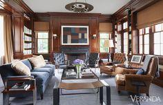 Custom sofa in Donghia fabric. Custom club chairs iin Ralph Lauren Home leather.