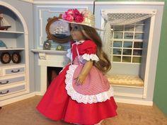 "VICTORIAN RED PRINT DRESS & ACCESSORIES - 18"" AMERICAN GIRL, CAROLINE, KIRSTEN #SataHaykushDesigns #ClothingShoes"