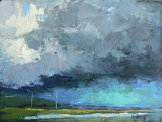 "Original Oil Abstract Landscape Storm 6x8"", original painting by ..."