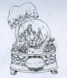 Steve Thompson Sketch - Snow White Snow Globe