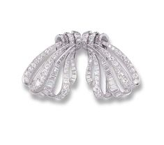 A DIAMOND BOW DOUBLE-CLIP BROOCH, BY VAN CLEEF & ARPELS   The openwork bow realistically modelled and set with circular-cut and baguette diamonds, mounted in platinum (one diamond deficient), circa 1955  Signed VCA, no. 30157