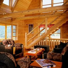 Log home Great Room, staircase