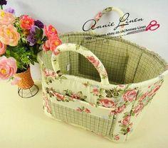 Vintage Shabby Country Laura Ashley Fabric Storage/Laundry Basket/box/bag B61 | eBay