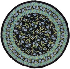 French Floral Tablecloth 70 inch Round Cotton Blue on Black
