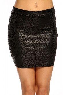 Black Leopard Faux Leather Sexy Mini Skirt