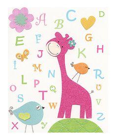 Look what I found on #zulily! Pink Giraffe Alphabet Print by Design By Maya #zulilyfinds