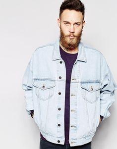 65c3016be009 Enlarge ASOS Oversized Denim Jacket With Acid Wash Jeansjacke In Übergröße, Jeansjacke  Männer, Jeansjacken