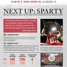 Ohio State vs. Illinois - November 1, 2014 Football Newspaper, Punch In The Face, Ohio State University, Buckeyes, Illinois, Michigan, Football Season, November, Game