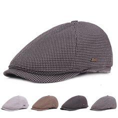 6781edd6979  US 10.29  Men Vintage Lattice Cotton Beret Cap British Style Outdoor Sport  Golf Gentleman