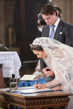 Princess Claire Of Luxembourg and Prince Felix Of Luxembourg are seen signing their wedding certifcate during their wedding ceremony at the Basilique Sainte Marie-Madeleine on September Wedding Bride, Wedding Ceremony, Wedding Gowns, Dream Wedding, Bridal Veils, Wedding Ideas, Religious Wedding, Religious Ceremony, Royal Brides