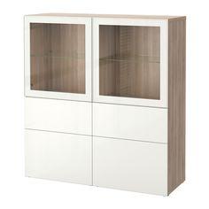 BESTÅ Storage combination w/glass doors - walnut effect light gray/Selsviken high gloss/white clear glass, drawer runner, soft-closing - IKEA