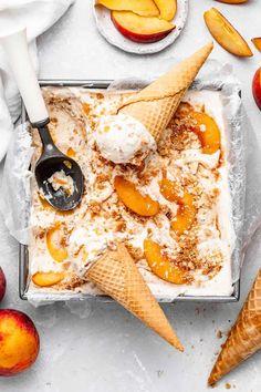 Peach Pie Ice Cream - Grandbaby Cakes Frozen Desserts, Fun Desserts, Frozen Treats, Dessert Recipes, Frozen Pie Crust, Peach Pie Filling, Pie Crumble, Ice Cream Pies, Cream Cake