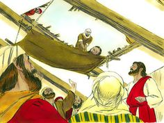 Free Bible illustrations at Free Bible images of the paralysed man who was forgiven and healed by Jesus after being lowered through the roof...