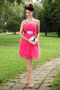 Straps Mini-length Tulle Junior Grad Dresses in Hot Pink with Sash