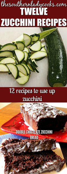 Twelve delicious zucchini recipes to help you use up all that zucchini in the garden. Something for everyone! #zucchini #gardening #vegetables #recipes #squash #food #summer