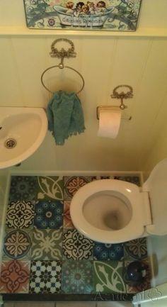 Cementtiles Toilet - Patchwork - Project van Designtegels.nl