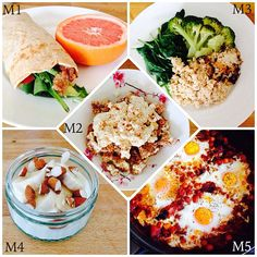 WIAT M1: ground turkey, mozzarella & avocado wrap with grapefruit. M2: crumbled rice cakes, cottage cheese & cinnamon. M3: garlic spinach, pollock, broccoli & rice mixed with tahini. M4: yoghurt, banana & almonds. M5: shakshuka eggs with bacon & chickpeas.
