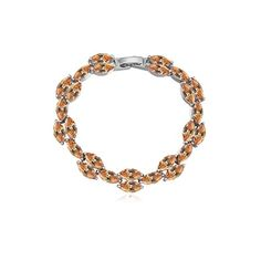 Amber Color Silver Plated AAA Cubic Zircon Crystal Chain Link Bracelet Valentines Gifts *** Read more  at the image link.
