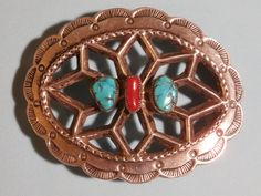 Navajo Artisan Nellie,T Sterling Silver Turquoise & Jasper Belt Buckle by pasttimejewelry on Etsy