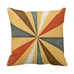 Sixties 5 Colors Swirl On Beeswax Orange Yellow Pillows
