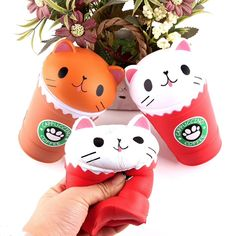 New Cut Coffee Cup Cat Scented Squishy Slow Rising Squeeze Toy Collection Cure Gift, Stress Toys, Stress Relief Toys, Cappuccino Coffee, Coffee Cups, Cake Squishy, Jumbo Squishies, Cotton Candy Clouds, Funny Toys, Kawaii