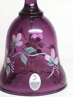 Fenton Amethyst Glass Purple Bell Diamond Optic Hand Painted Signed Marked Logo  $9.99